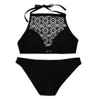 Women's Swimwear Sexy Sandy Beach Solid Swimming Suit Halter Bikini Push-up Padded Bra Swimsuit Set Thong 2021