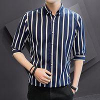 Erkek Elbise Gömlek Büyük Kısa Kollu Gömlek Şerit Yedi Ceket İş Fit Yüksek Konfor Ofis Moda Giyim