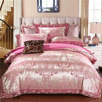 Bedding Sets 2021 Satin Jacquard Lace Luxury Set Soft Bedclothes Duvet Quilt Cover Bed Linen Sheet 4 Pieces