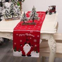 Cucina TableRunner Pranzo Ristorazione Pranzo Tovaglia Buon Natale Tavolo Runner Xmas Tovaglia Bandiere Flags Elk Stampato Lino Partito HWF9961