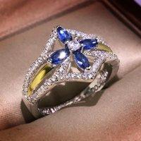클러스터 링 세트 블루 크리스탈 말 눈 지르콘 크로스 골드 두 색 반지 여성 럭셔리 클래식 우아한 선물