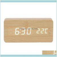 Desk Décor Home Gardendesk & Table Clocks Multicolor Sound Control Wooden Wood Square Led Alarm Clock Desktop Digital Usb  Date Display Drop