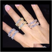Band Drop Delivery 2021 Hip Hop Iced Out Ring Cz Stone Tennis Rings Women Charm Luxury Jewelry Crystal Zircon Diamond Rose Gold Sier Wedding