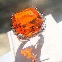 Anelli di nozze di lusso Esagerato Arancione Arancione Big Zircone Anello per le Donne Moda 925 Argento Geometrico Geometrico Geometrico Pietra Stone Pietra Gioielli Anillos