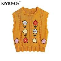 Kpytomoa donne dolce moda floreale ricamo cornuto maglia maglia maglione vintage senza maniche gilet donna gilet chic top 211008