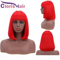 Red Human Hair Bob Wig Pixie Cut Malaysian Remy Straight Non Lace Wigs With Bangs For Black Women 150% Red Colored Glueless Short Bob Wig