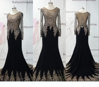 Real Image 2016 Stunning Black Mermaid Evening Dresses With Sheer Long Sleeves Beaded Lace Embroidery Formal Prom Celebrity Dresses BO7338
