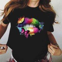 Kadın T Shirt Zogankin Serin Streetwear Siyah Gökkuşağı Dudak ve Alev Baskı Harajuku Kadınlar Yaz Kediler T-shirt Femme Tops