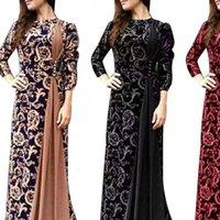 Hülse Maxi Kleid Weibliche Herbst Kleid Plus Größe Abendparty mittelalterliche Frauen Blume Blumendruck 3 4 Vintage Womens Kleider