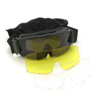 Gafas de ventilador militar alfa Gafas tácticas CS Bolsa de tela de tiro Tres lentes con mangas