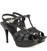 Sexy Designer Tribute Patent Soft Cuero Plataforma Sandalias Para Mujer Alta Heel Stiletto Gladiador Sandalias T-Strap Lady Shoes Bombas 10cm y 14cm
