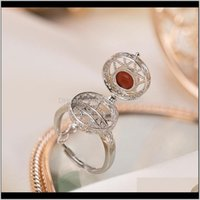 Jewelry Drop Delivery 2021 Adjustable Sier Agate Ring Jewellery 925 For Women Natural Stone Fashion Dainty Unusual Cool Stuff Box Can Be Open