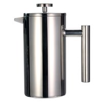 French Press Coffee Tea Maker - Stainless Steel Coffee Pot, Double Wall Vacuum Isnulated, Portable Glass Tea Brewer with Filter 210330