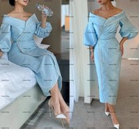 Dubai Sky Blue Midi Arabic Mother of The Bride Dresses 2022 Long Sleeve Luxury Beaded Tea Length Mother Formal Occasion dress wear
