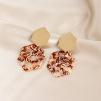 70%OFF New simple hexagonal diamond metal Earrings geometric Acrylic Pendant acetate plate long earrings SP5Q