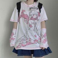 Latermeelon Harajuku Streetwear Механический ангел с коротким рукавом футболка женская одежда лето о-шеи сладкие девушки белые топы тройник