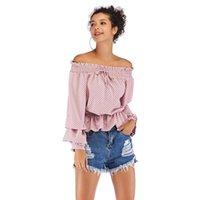Women's Blouses & Shirts YOUNG VIVA 2021 Women Strapless Off Shoulder Polka Dot Chiffon Loose Yb108