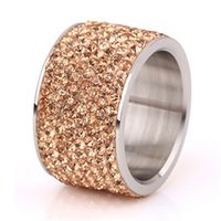 316L stainless steel Womens Wedding rings Jewelry anillos de acero inoxidable para mujer High Quality CZ Crystal Pave 1853 Q2