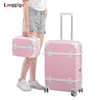 حقائب السيدات حقيبة سفر حقيبة مع حقيبة يد عربة عجلة حزمة صندوق الأمتعة مجموعة ABS سحب قضيب حقيبة المتداول حمل