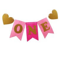 1 set One Banner Flagge Girlande Boy Baby Shower Bunching Girl 1. Erster Geburtstagsfeier Feiern Dekor Dekoration