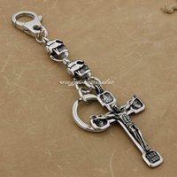 Linsen 316L Edelstahl Riesiger Jesus Crucifix Cross Herren Biker Keychain 3V001KC
