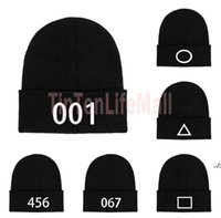 Unisex Korean Squid Game TV Embroidery Beanies Hat Square Triangle Circle Number Embroidered Knitted Slouchy Cuff Skull Caps