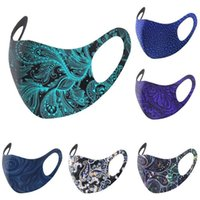 US STOCK fashion designers face Party Masks blue foreign trade breathable ice silk multicolor printing thin section washable waist mask