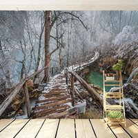 Wallpapers Custom 3D Wall Mural Wallpaper Home Decor Forest Lake Snowy Stairway Po Painting For Living Room Bedroom TV Fresco
