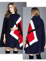 패션 겨울 자켓 기하학적 패턴 Batwing 슬리브 모직 따뜻한 망토 Ponchos 케이프 코트 양모 블렌드 여성용 겉옷