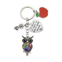 Party Favor Appreciation Teachers Keychain Apple Love Heart Charm Keyring Thank You Teacher Key Chain Ring Holder Jewelry Teacher's Day Gift