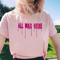 Tudo aqui louco Alice Wonderland camiseta engraçado slogan puro gatos t-shirt mulheres chás casuais com citação tees moda top