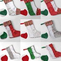 التسامي عيد الميلاد الترتر تخزين 11 ألوان هدية عيد الميلاد حقائب نقل الحرارة الجوارب سانتا كلوز ديكورات RRE8437