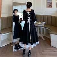 Casual Dresses Women Autumn Floral Lace Dress French Vintage Court Black Elegant Puff Sleeve Back Lace-up Party Long Plus Size 4XL