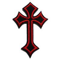 6x10cm Broderie Patchs Jésus Cross Cross Cross Rouge Noir Cousez le fer sur des badges gothiques brodés pour sac jeans Hat shirt DIY Applique