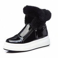 Запасы Кожаные Снежные Сапоги Водонепроницаемые Зимние Ботинки Лодыжки Платформа Площадь Площадь Случайный Мех Лодыжки Botas Mujer Увеличение высоты Короткие Boot H8Z8 #