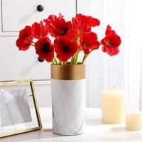 Decorative Flowers & Wreaths Artificial Poppy Fake Bridal Wedding Bouquet Home Office Shop Party Decoration Simulation PU Flower Po Props