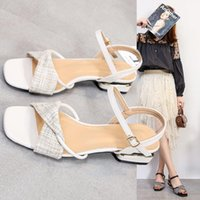 Sandals Fashion Womens Shoes 2021 Buckle Strap Female Sandal Clear Heels Large Size Luxury Low Girls Beige Summer Comfort Big PU Cas