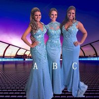 Vintage Mermaid Light Sky Blue Bridesmaid Dresses High Neck Lace Major Beaded 2022 Maid of Honor Long Evening Prom Party Wedding Guest Gowns