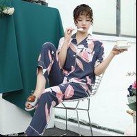 Lisacmvnel impresión de moda pijamas para mujer corta ropa de dormir traje de manga cardigan suelto pijamas de algodón artificial ropa de dormir de seda