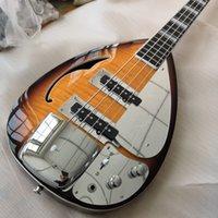 4 corde Sunburst Drop Drop Vox Phantom Electric Bass Guitar Guitar Semi Hollow Body, Single F Hole, Bround Block Inlay, Bigs Bridge Cover
