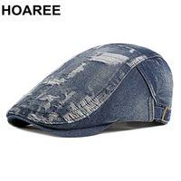 Hoaree 남자 Jeff Ivy 모자 데님 라이트 블루 망 베레모 영국 스타일 남성 Wigens 모자 봄 여름 브랜드 드라이버 모자 210429
