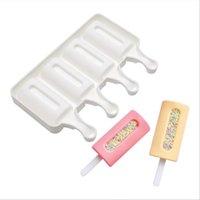 Moldes de helado de silicona 4-cavidad caramelo lolly congelar molde DIY Herramientas Accesorios de cocina Postre herramienta de fabricación de moldes para hornear