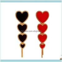 Products Care & Styling Tools Vintage Love Heart Hair Clip Stylish Barrettes Fashion Aessories For Party Banquet (Red + Black) Clips Drop De