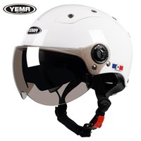 Caschi moto Yema Casco Scooter Elettrico Moto Dual Lens Visore Open Face Face Mezza Guida Bicycle Bicycle Unisex Estate