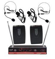 Pro PA DJ 2CH VHF Wireless Stage Church Club Karaoke Party Dynamic Lavaliere Headset Microphone System SMV-2003B Microphones