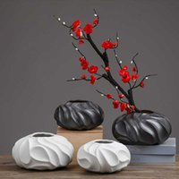 Chinese Black And White Creative Ceramic Fine Mouth Vase Hydroponics Home Soft Decoration Living Room Porch Ornaments Vases