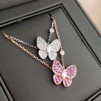 S925 Silber Schmetterling Anhänger Halsketten Einfache Voll Diamant Sweet Little Fairy Rose Gold Luxus Schmuck