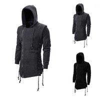 Assassin Creed SweaterCoat dunkle Krawatte mit Kapuze Lose Mantel Reißverschluss Hoodies mit seitlich gekreuzten schwarzen dunkelgrauen Hoodies Herren