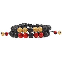 Natural Lava Stone Rope Braided Handmade Beaded Charm Bracelets For Valentine's Day Couple Lover Jewelry