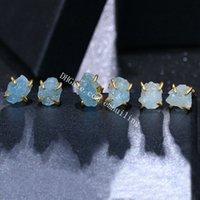 Irregular Natural Aquamarine March Birthstone Prong Set Stud Earrings For Women and Girls Gold Plated Genuine Raw Rough Blue Quartz Crystal Gemstone Studs Earring